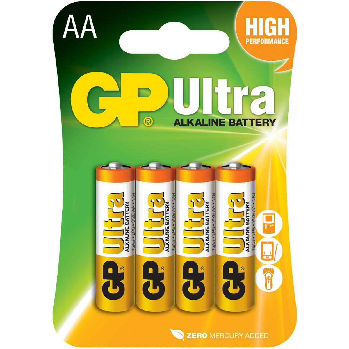 Baterie 1,5V GP AA (tužkové), 4pack Ultra alcaline