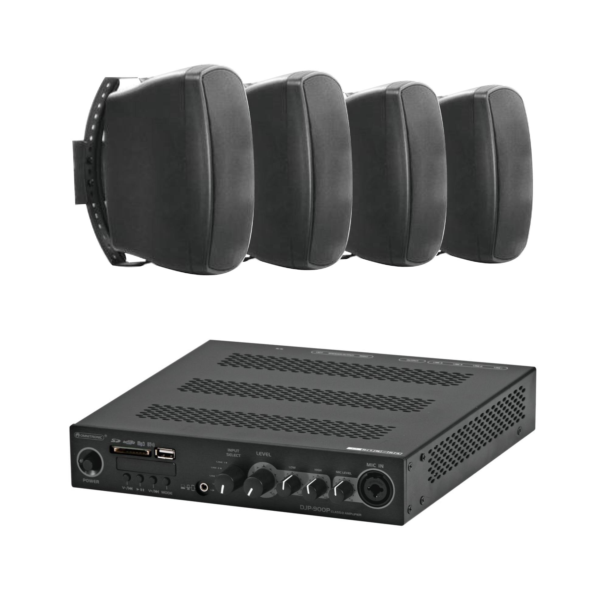 Mixážní zesilovač BT/MP3 Class D se 4 reproduktory BK