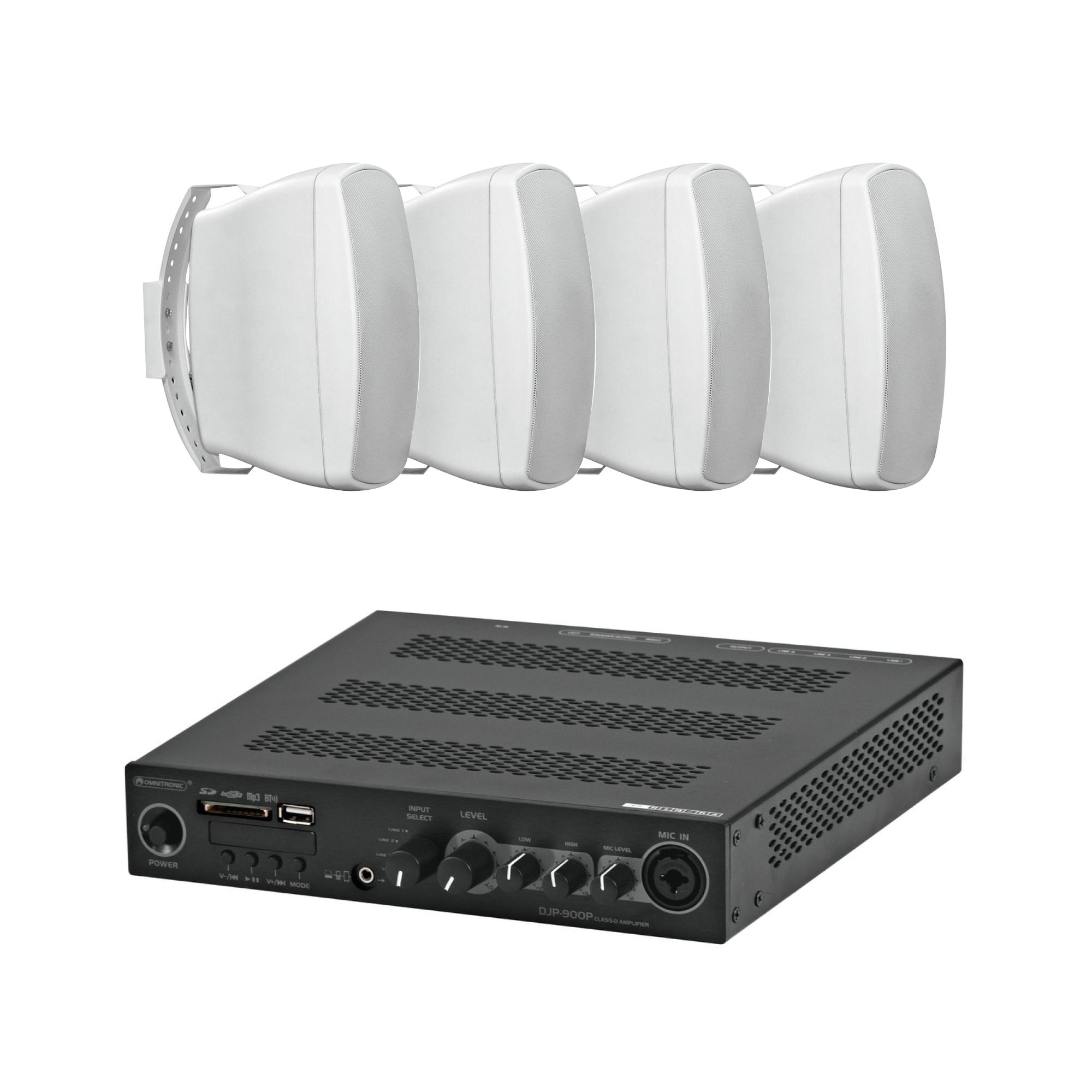 Mixážní zesilovač BT/MP3 Class D se 4 reproduktory WH
