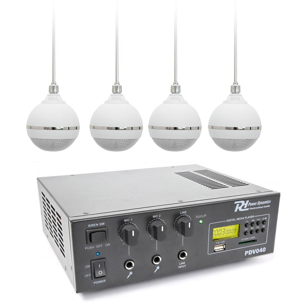 100V mixážní zesilovač MP3 se 4 závěsnými reproduktory WH