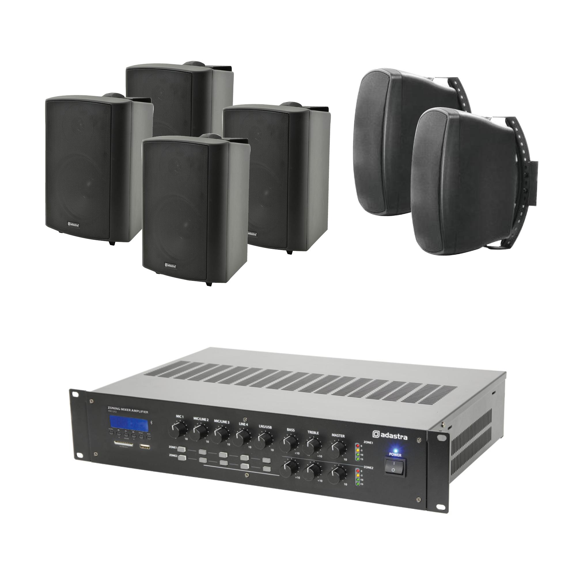 100V mixážní 2-zónový zesilovač BT/MP3/FM se 6 reproduktory BK