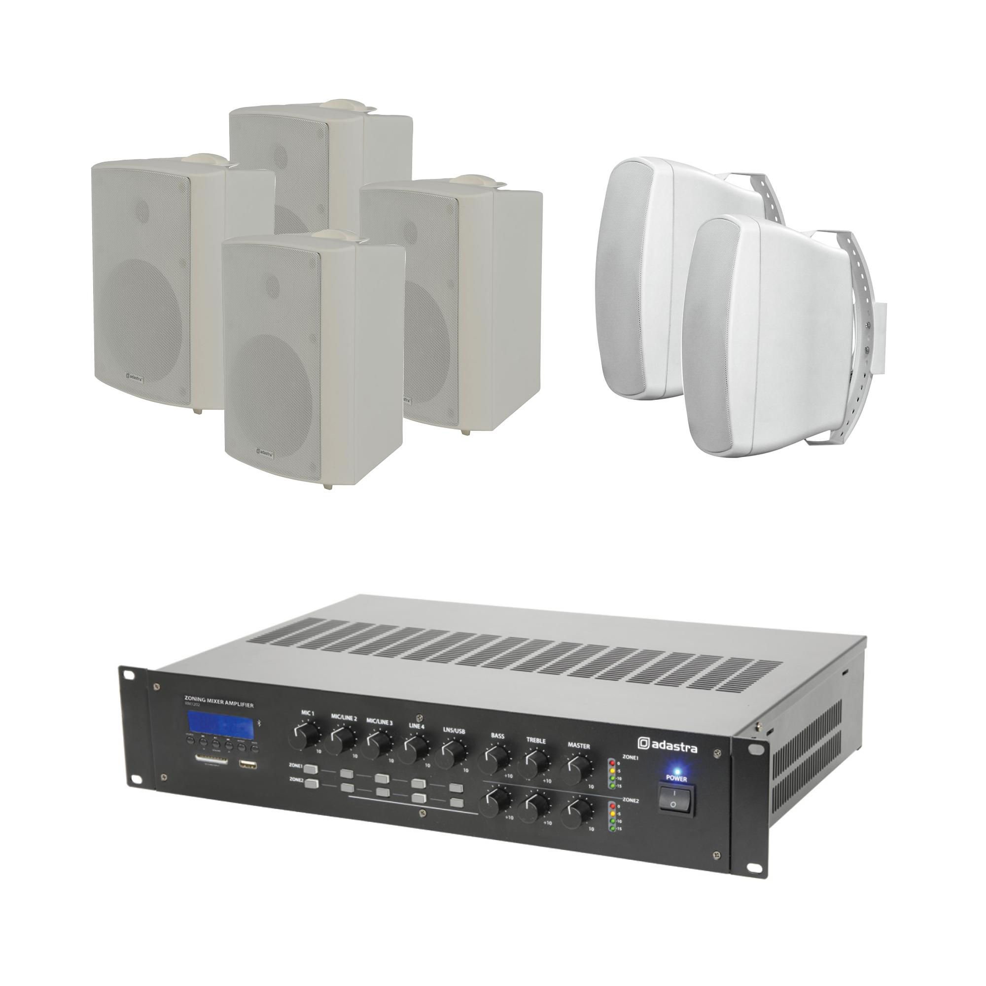 100V mixážní 2-zónový zesilovač BT/MP3/FM se 6 reproduktory WH