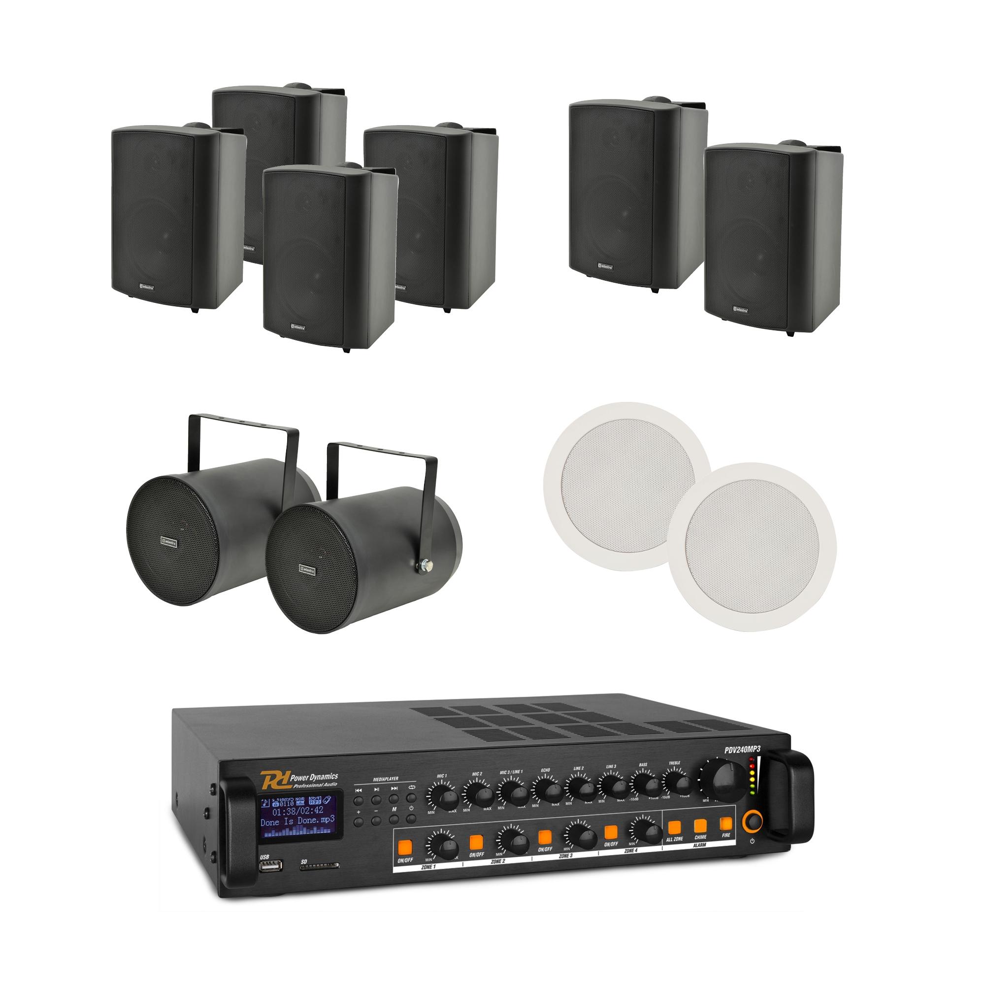 100V mixážní 4-zónový zesilovač BT/MP3/FM s 10 reproduktory BK