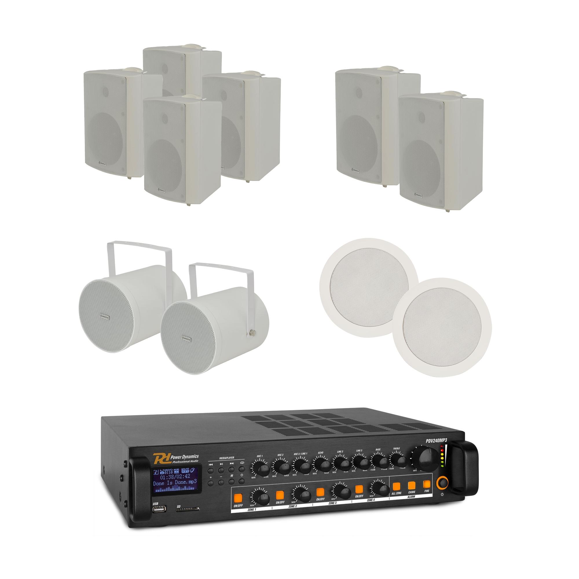 100V mixážní 4-zónový zesilovač BT/MP3/FM s 10 reproduktory WH
