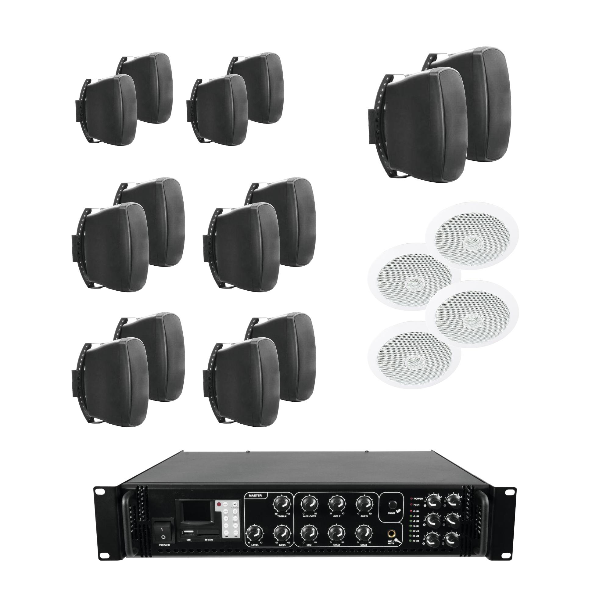 100V mixážní 6-zónový zesilovač MP3 s 18 reproduktory BK