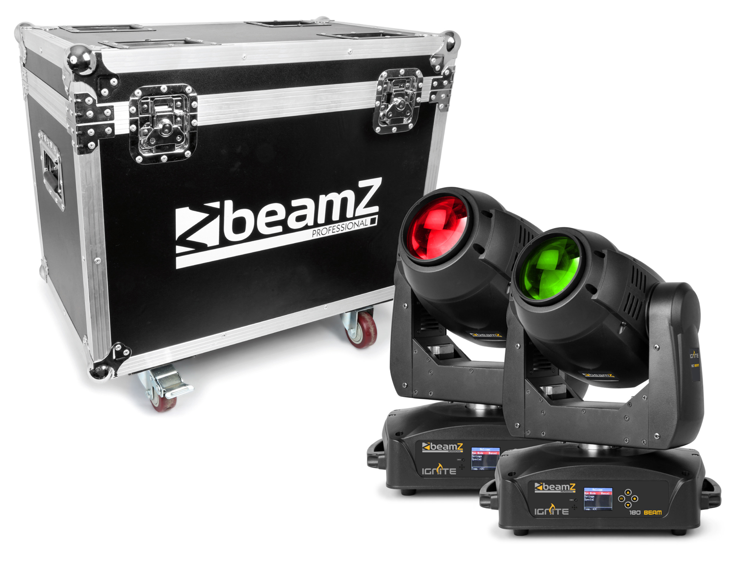 BeamZ Professional IGNITE180B LED Beam Moving Head 2 pieces in Flightcase