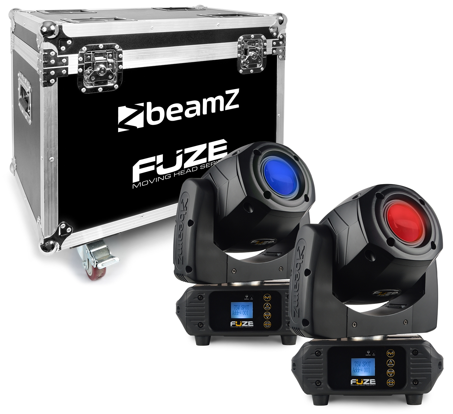 BeamZ Fuze 75S Spot 75W LED Moving Head Sada 2ks s přepravním casem