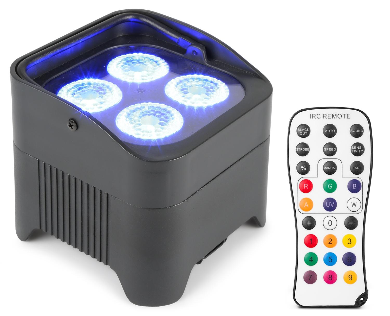 BeamZ Uplight PAR64 LED reflektor na baterie, 4x 10W RGBAW+UV