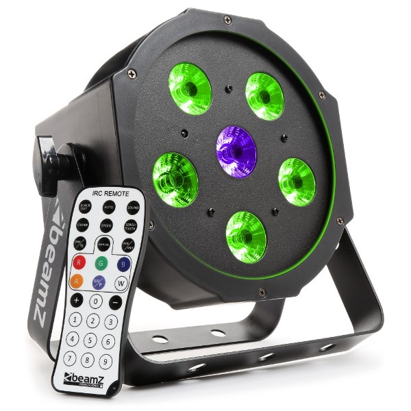 BeamZ LED FlatPAR reflektor 5x 6W TCL + 6W UV LED, RGB, DMX