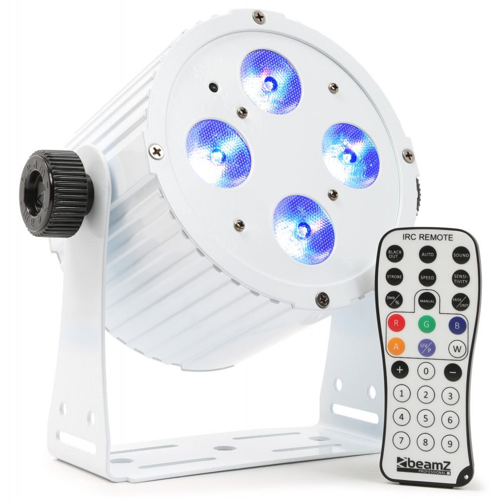 BeamZ LED FlatPAR reflektor 4x18W HCL, IR, DMX, bílý