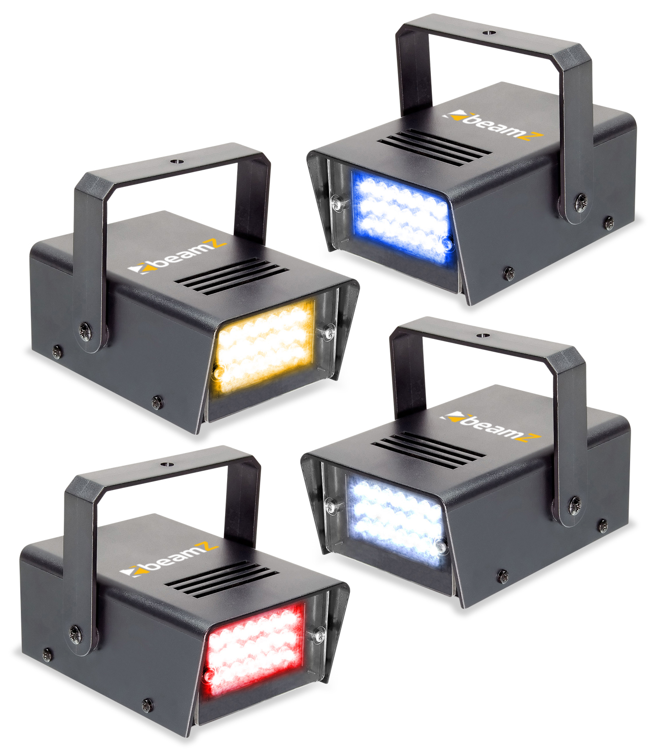 BeamZ Sada 4ks Mini LED Stroboskop RYBW