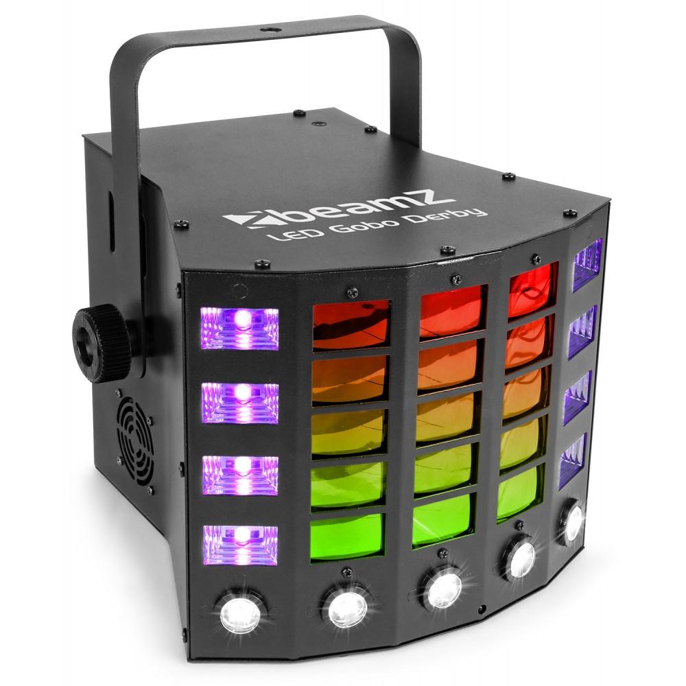 BeamZ LED Gobo Derby, stroboskop a UV, světelný efekt