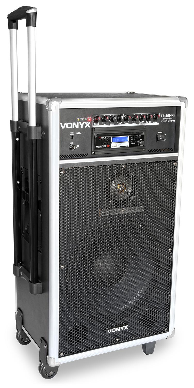 """Vonyx ST180, mobilní 12"""" zvukový systém CD/MP3/2x UHF"""