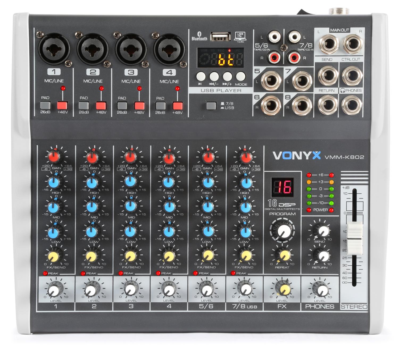 Vonyx VMM-K802 8-kanálový mix pult s DSP