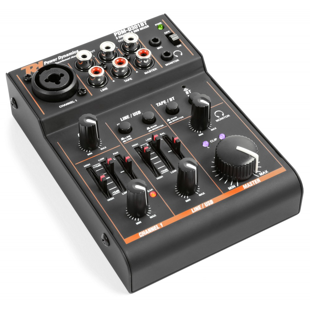 Power Dynamics PDM-D301BT, 3-kanálový mix pult s USB/BT