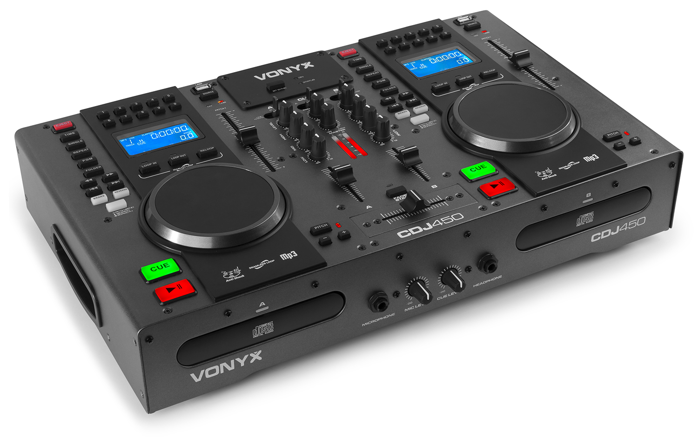 Vonyx CDJ450 dvojitý CD/MP3 přehrávač s mix pultem a Bluetooth