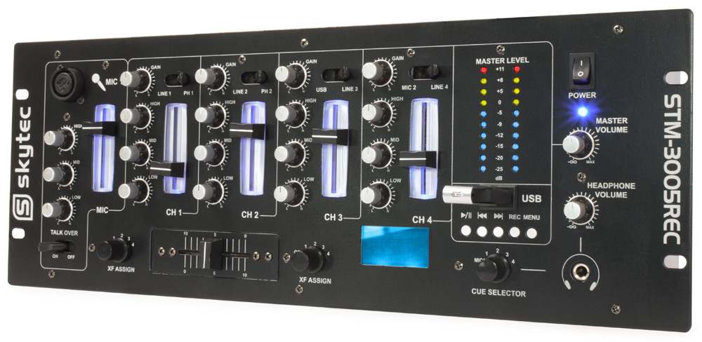 Skytec STM-3005REC 4-Channel Mixer EQ USB/MP3 Record