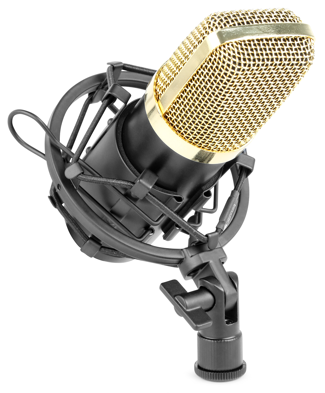 Vonyx CM400B studiový kondenzátorový mikrofon černo-zlatý