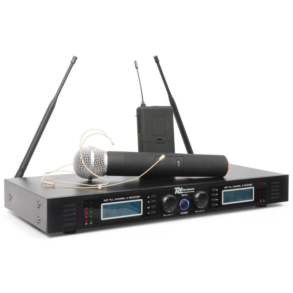Power Dynamics PD732C, UHF mikrofonní set 2 kanálový, ručka + hlava