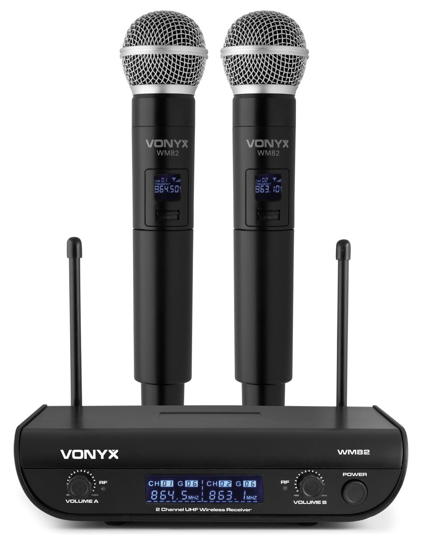 Vonyx WM82, digitální UHF mikrofonní set 2 kanálový, 2x ruční mikrofon
