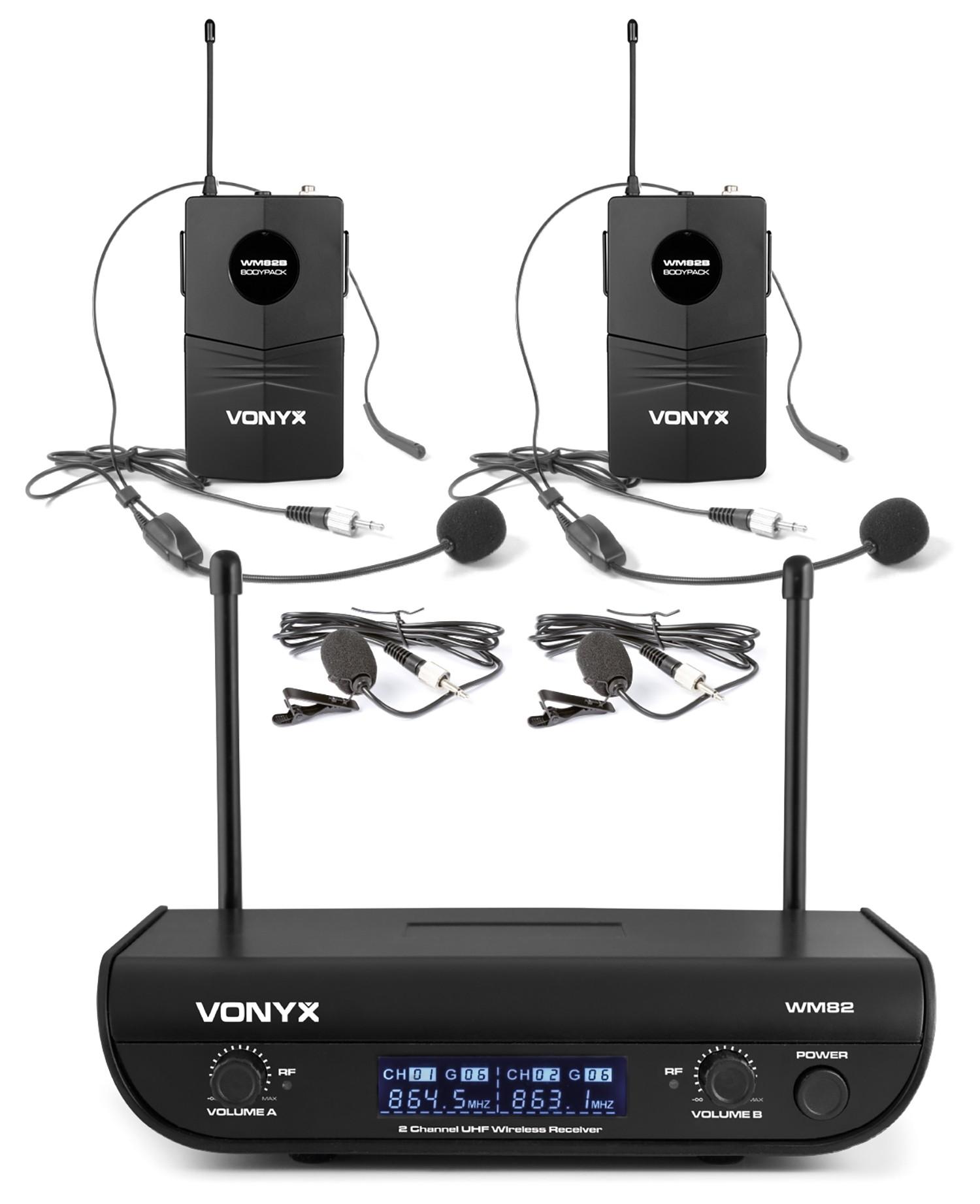 Vonyx WM82B, digitální UHF mikrofonní set 2 kanálový, 2x náhlavní mikrofon