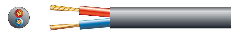 Kabel reproduktorový kulatý černý 2x 2,5 qmm