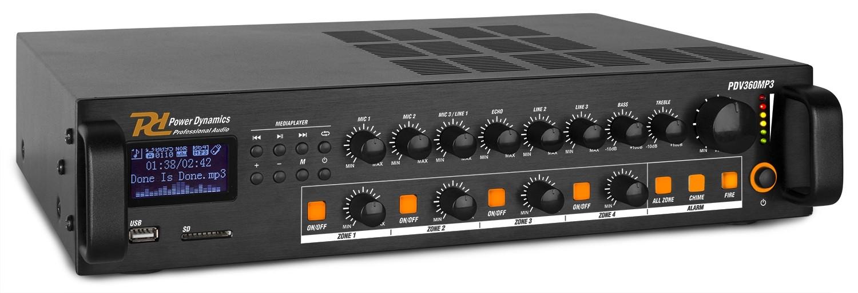 Power DynamicsPDV360MP3 PA mixážní 4-zónový zesilovač, 360W/100V